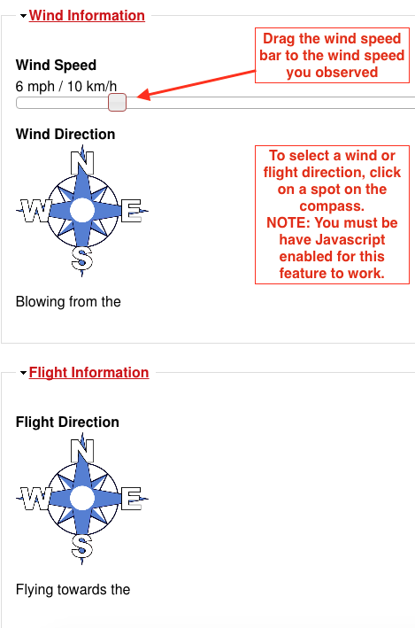 Wind and Flight direction